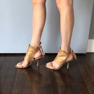 Linea Paolo Gold Wrap Around Heels
